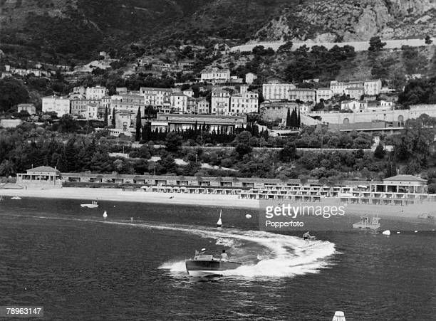 1958 Water skiing off the beach at Monte Carlo with the Sporting Club in the background