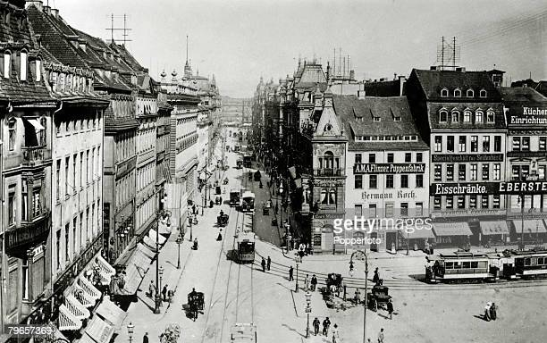 circa 1900's Dresden showing the KonigJohann Strasse Dresden pictured from the Altmarket