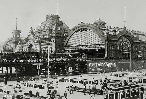 circa 1930's Dresden showing the Railway Station with buses and trams parked outside