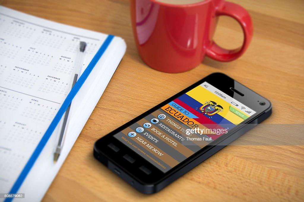 Travel Guide - Ecuador - Smartphone App : Stock Photo