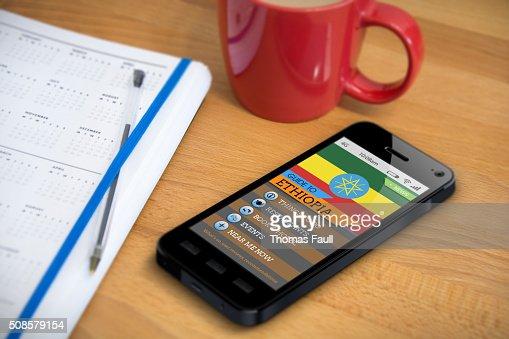 Reiseführer-Äthiopien-Smartphone-App : Stock-Foto