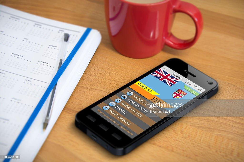Travel Guide - FIJI - Smartphone App : Stockfoto