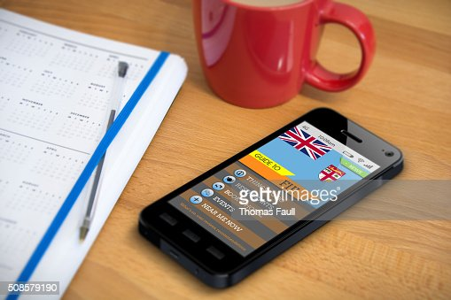 Travel Guide - FIJI - Smartphone App : Stock Photo