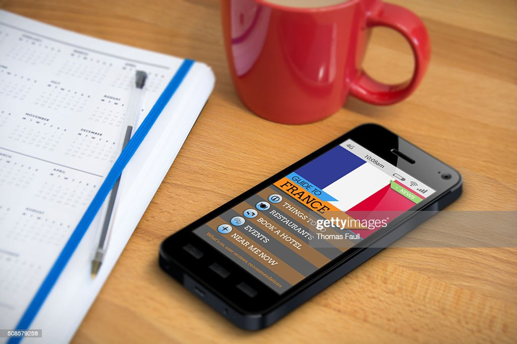 Travel Guide - France - Smartphone App : Stock Photo