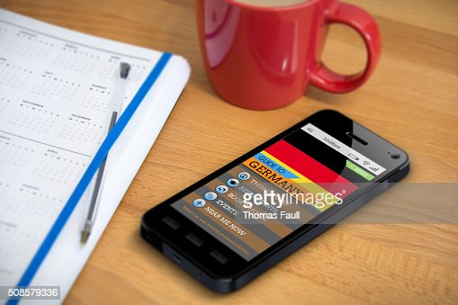 Travel Guide - Germany - Smartphone App : Stock Photo