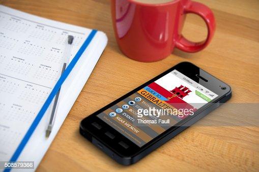 Travel Guide - Gibralter - Smartphone App : Bildbanksbilder