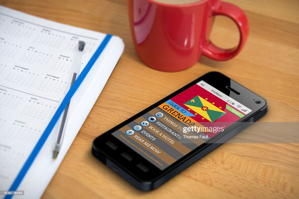 Travel Guide - Grenada - Smartphone App : Stock Photo