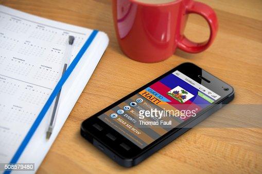 Travel Guide - Haiti - Smartphone App : Stock Photo