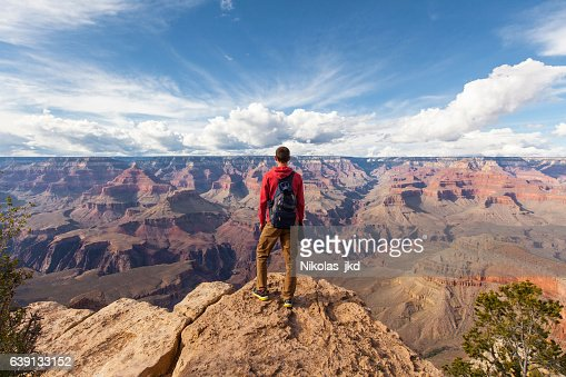 Travel in Grand Canyon, man Hiker with backpack enjoying view : Stock Photo