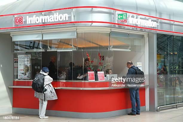 Travel information center of Deutsche Bahn at Frankfurt / Main International Airport on September 12 2013 in Frankfurt am Main Germany