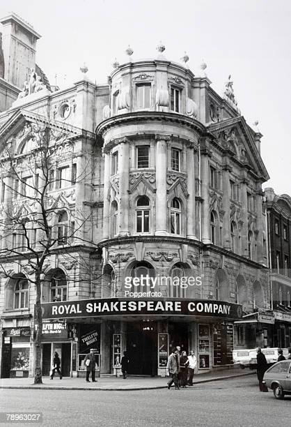 Travel London England Circa 1970's The front of the Aldwych Theatre seen here hosting a Royal Shakspeare Company production