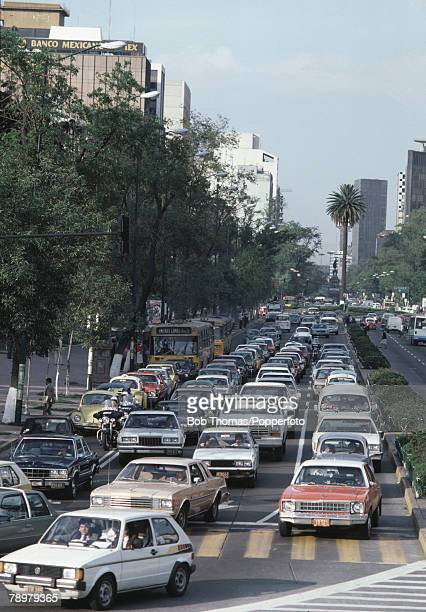 Travel Mexico City Mexico Congested traffic in the centre of the city