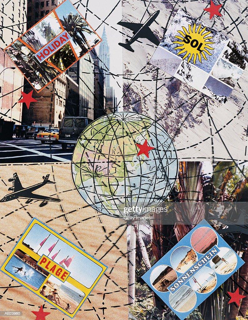 Travel montage, places around the world, illustration : Stock Photo