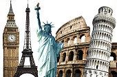 Popular travel landmarks around the world.
