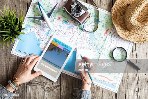 Travel planning concept on map : Foto stock