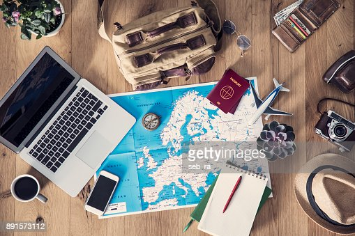Travel planning concept on map : Foto de stock