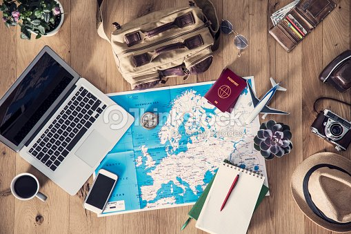 Travel planning concept on map : Stock Photo