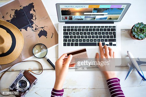 Travel planning concept on table : Foto stock