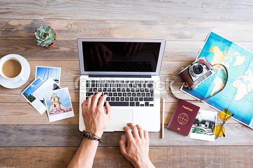 Travel planning on computer : Stock Photo