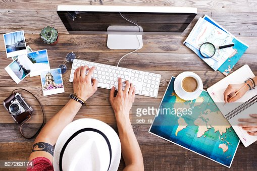 Travel planning on computer : Stock Photo