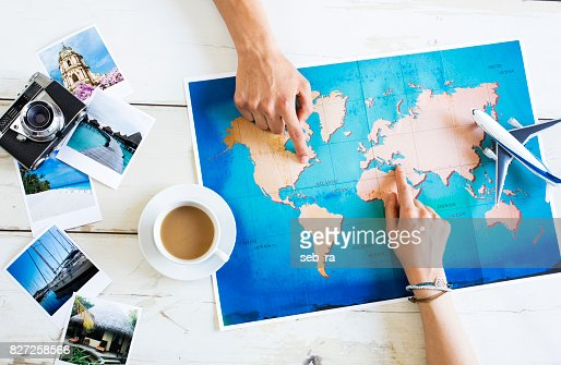Travel planning on map : Stock Photo