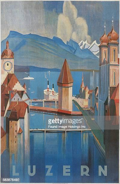 Travel Poster for Lucerne Switzerland