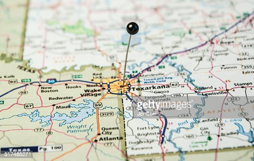 Travel Road Map Macro Texarkana Arkansas And Texas Photo – Texas Travel Map