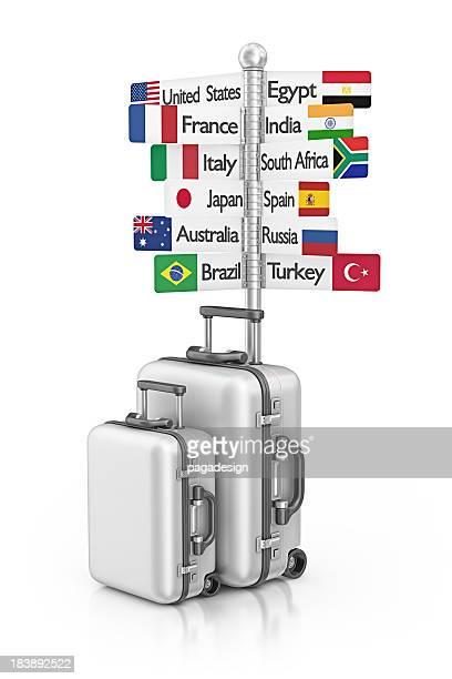 travel Wegweiser und Koffer