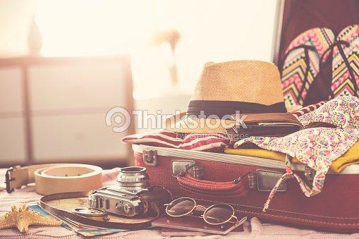 Travel suitcase prepareing concept : Stock Photo