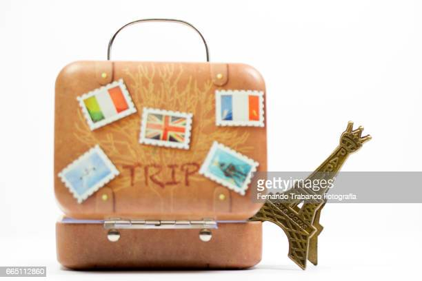Travel suitcase with eiffel tower. Travel agency