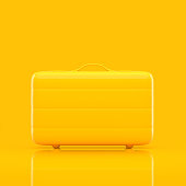 Travel suitcase yellow color isolated on yellow background with clipping path,minimal concept 3d render.