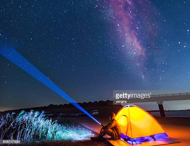 Travel tents under the night sky