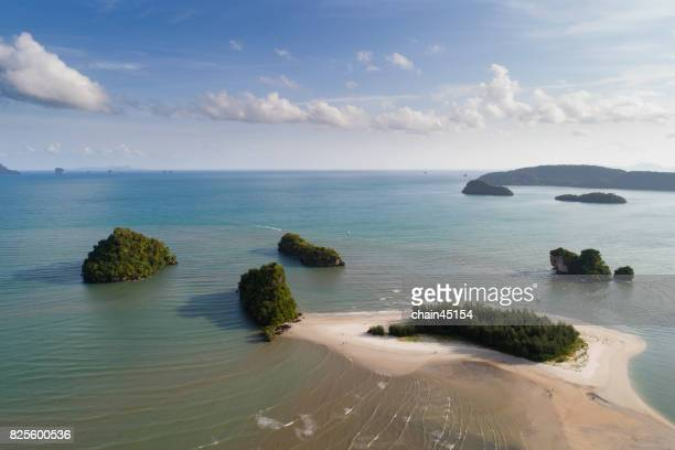 Travel vacation concept background. Tropical island with traveller on the summer beach at Krabi Province, Thailand