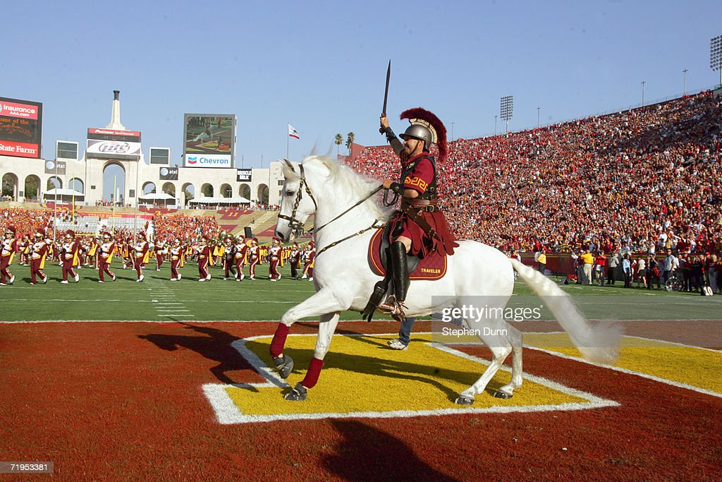 Traveler, mascot of the USC Trojans runs on the field before the game against the Nebraska Cornhuskers on September 16, 2006 at the Los Angeles Memorial Coliseum in Los Angeles, California.