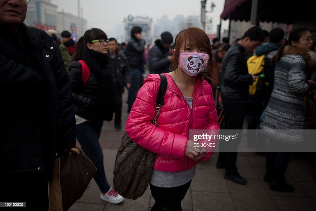 A traveler wearing a mask arrives at Beijing Railway Station in Beijing on January 27, 2013. The world's largest annual migration began in China with tens of thousands in the capital boarding trains to journey home for next month's Lunar New Year celebrations. AFP PHOTO / Ed Jones