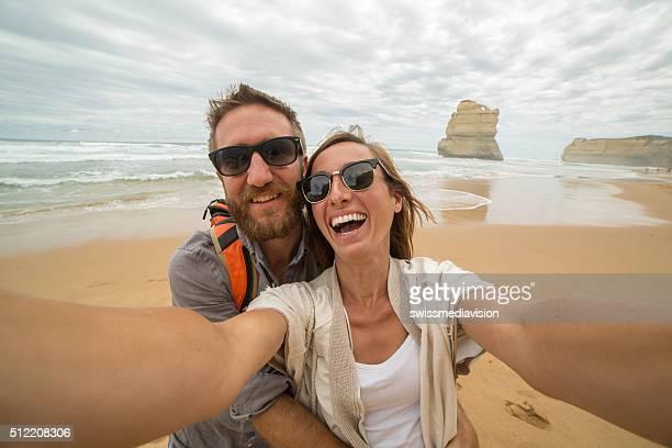 Travelers take selfie portrait on Gibsons steps beach-Great ocean road