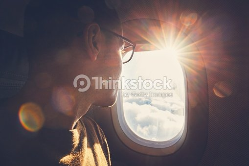Traveling by airplane : Foto de stock
