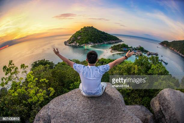 Traveling on island in Thailand beach. Travel concept.