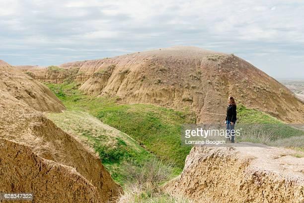 Traveling Senior Woman Enjoys View Badlands National Park South Dakota