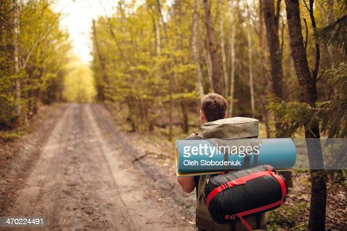Traveling with backpack : Stock Photo