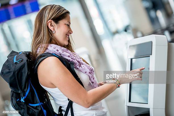 Traveling woman at the airport