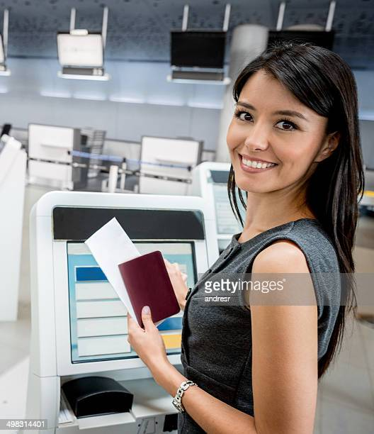 Traveling woman doing check-in