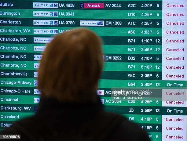 A traveller looks at the flight status board for arrivals and departures is viewed at Dulles International Airport just outside Washington DC January...