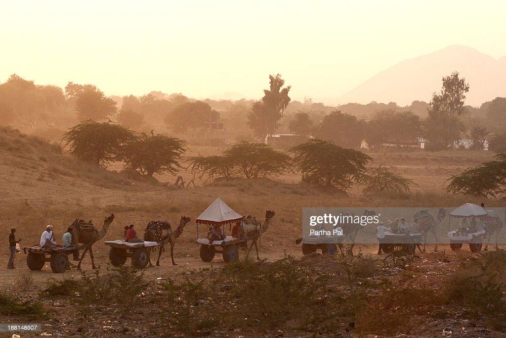 Travellers enjoying camel driven cart,Pushkar Fair