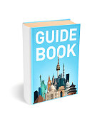 Guide book with photo with various world monuments on the cover, path included. Image is photographer's own.