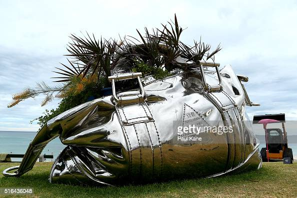 'Travelling Bag' by artist Yumin Jing is seen during Sculpture By The Sea 2016 at Cottesloe Beach on March 19 2016 in Perth Australia