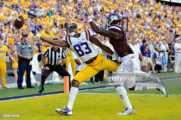 Travin Dural of the LSU Tigers has a pass in the back of the end zone go off his finger tips during a game against the Mississippi State Bulldogs at...