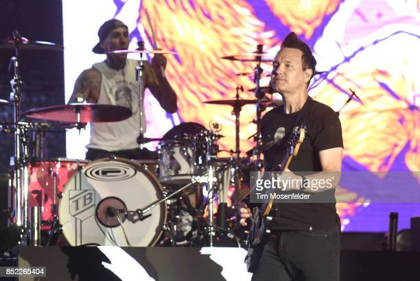 Travis Barker and Mark Hoppus of Blink 182 perform during the 2017 Life is Beautiful Festival on September 22 2017 in Las Vegas Nevada