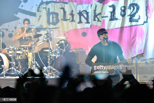 Travis Barker and Tom Delonge of Blink182 performs at the Hollywood Palladium on November 6 2013 in Hollywood California