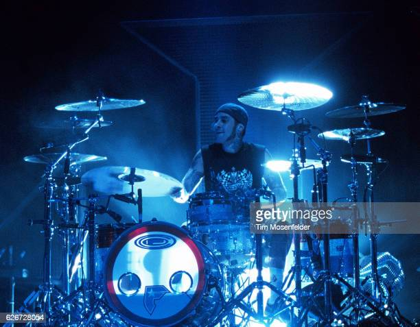 Travis Barker drummer for Blink 182 performs at Shoreline Amphitheater in Mountain View California during the Take Off Your Pants and Jacket tour in...